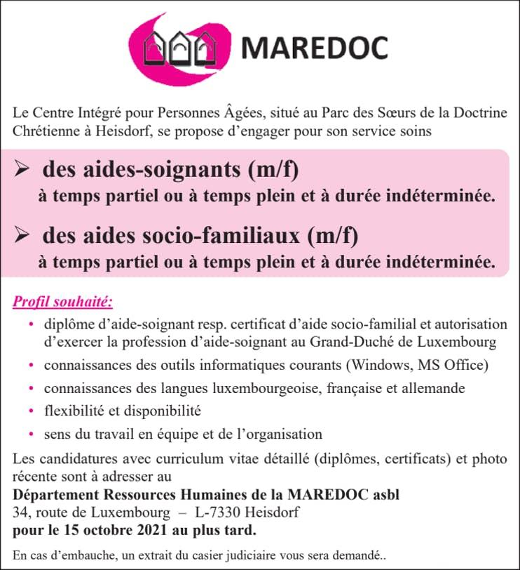 Anzeige Maredoc Asbl 11 09 2021